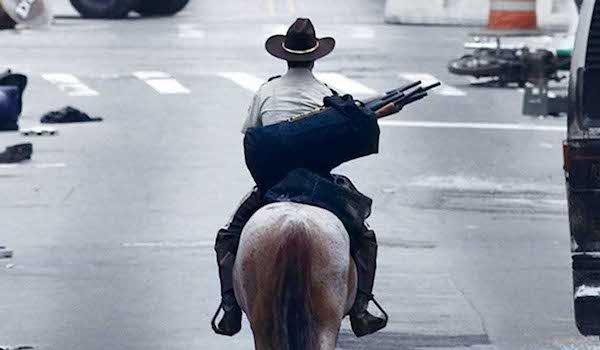 rick riding horse walking dead first episode