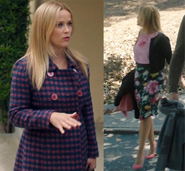 Big Little Lies Season 2 Madeline blue and pink Houndstooth Coat floral print skirt