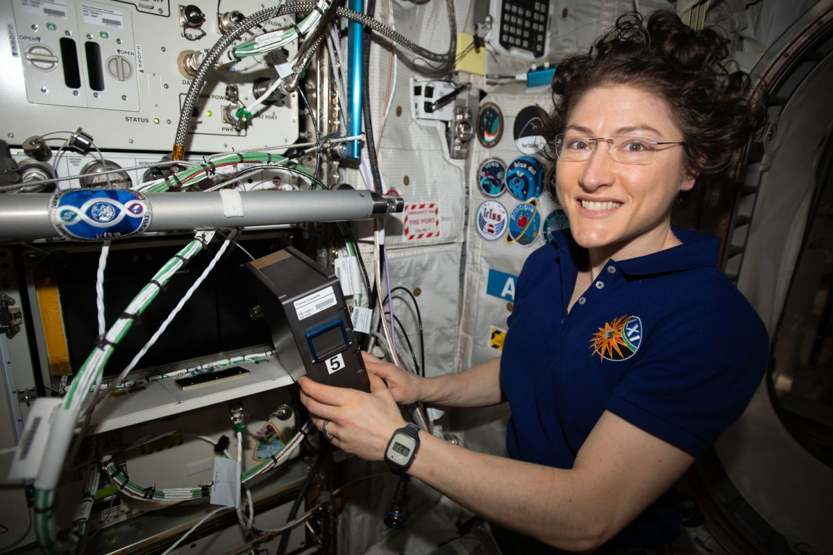 NASA astronaut Christina Koch celebrates her 300th day in space