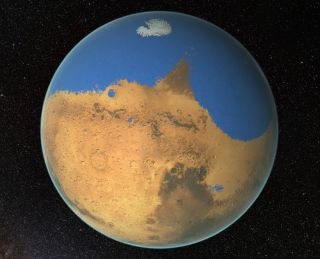 Before this slow process dried out the planet, Mars may have been covered by a vast ocean. This illustration shows how the planet may have looked billions of years ago.