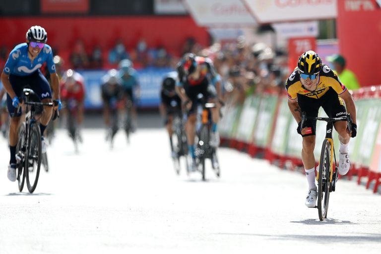 Primož Roglič on his way to victory on stage 11 of the Vuelta a España