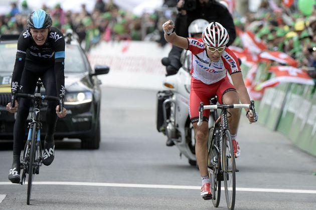 Simon Spilak pips Chris Froome to win stage three of 2014 Tour de Romandie