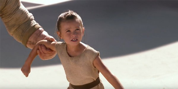 Rey calling out for her parents in Star Wars: The Force Awakens