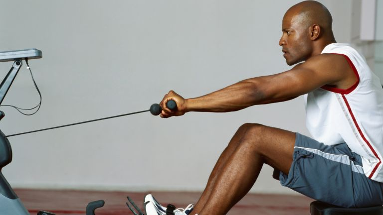 Rowing machine form: This man demonstrates good technique