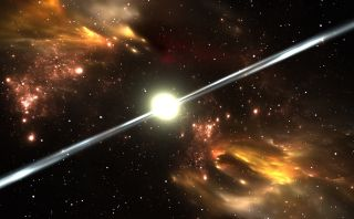 Pulsars spit out beams of radiation as they spin.