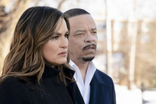 "Pictured: (l-r) Mariska Hargitay as Captain Olivia Benson, Ice T as Detective Odafin ""Fin"" Tutuola"