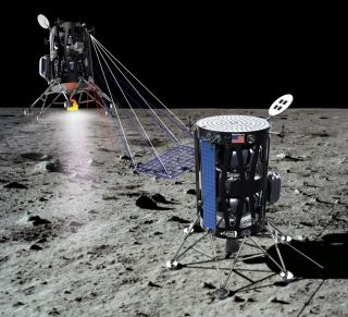 Artist's illustration of Intuitive Machines' Nova-C lunar lander on the moon.
