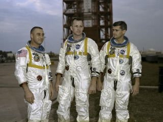 The prime crew members of NASA's first manned Apollo Space Flight are pictured during training in Florida on March 21, 1966. From left to right are astronauts Gus Grissom, Edward White and Roger Chaffee.