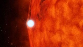An artist's image of a white dwarf passing in front of a red dwarf star. As the white dwarf passes in front of its larger companion, it bends and magnifies the light of the background star.