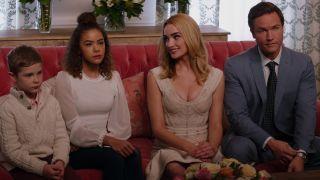"From left, Diesel la Torraca as Austin, Antonia Gentry as Ginny, Brianne Howey as Georgia, and Scott Porter as Mayor Paul Randolph in ""Ginny & Georgia"" on Netflix."