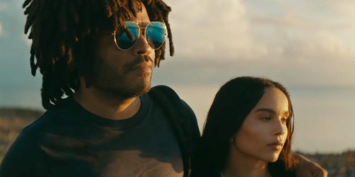 Lenny Kravitz and daughter Zoë in a scene a 2019 Tumi ad
