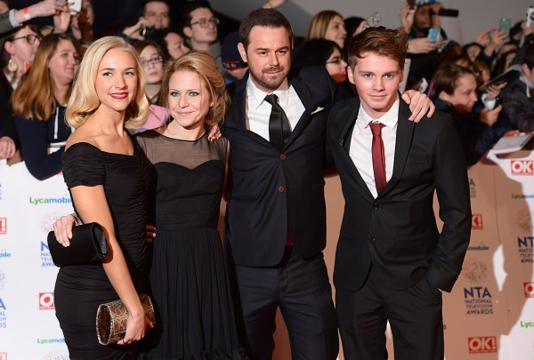 Sam with his EastEnders co-stars Danny, Kellie Bright and Maddy Hill (Dominic Lipinski/PA)