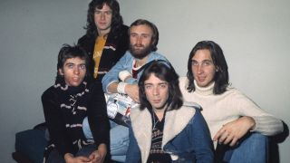 Hackett, second right, with Genesis in 1975
