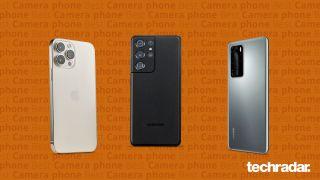 Eine Auswahl der besten Kamerahandys, darunter Samsung Galaxy S21 Ultra, Huawei Mate 40 Pro und iPhone 13 Pro Max