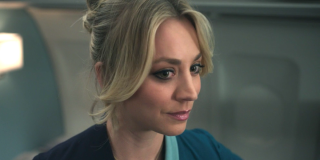Kaley Cuoco as Cassie Bowden almost smiles on The Flight Attendant