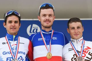 Rudy Molard, Remi Cavagna and Damien Touze on the podium
