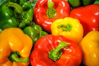 Green, yellow, and red peppers.