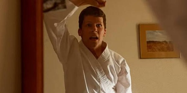 Jesse Eisenberg as Casey throws up a block in The Art Of Self-Defense