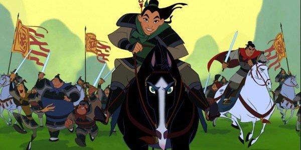 Mulan on horseback in animated Disney movie