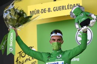 Julian Alaphilippe on the podium in the green points jersey after stage 2 of the Tour de France
