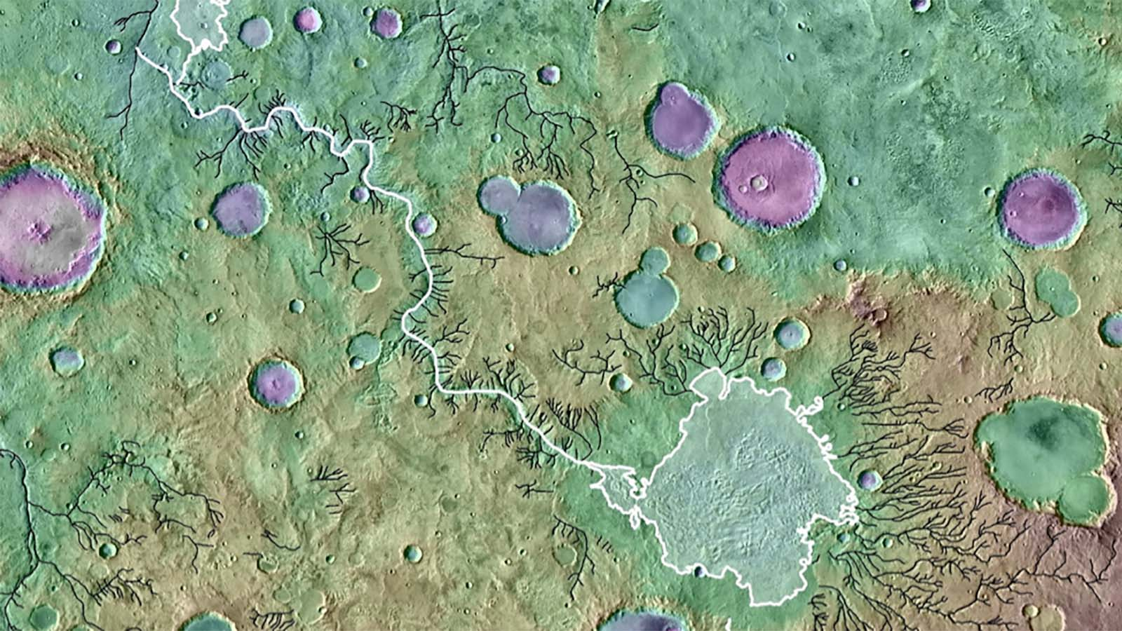 A colored topographical image showing river valleys on Mars.
