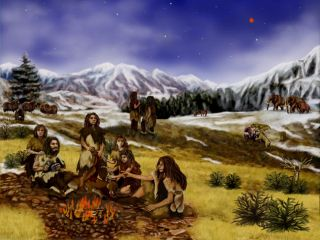 an illustration of a Neanderthal family