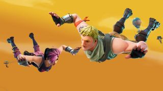 An illustration of Fortnite: Battle Royale characters diving into battle.
