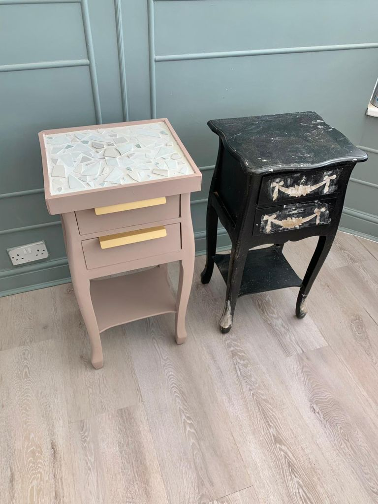 upcycled side table with concrete top