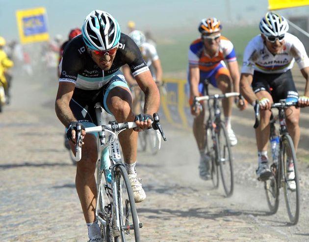 Fabian Cancellara Leopard Trek attacks 2011 Paris Roubaix.jpg