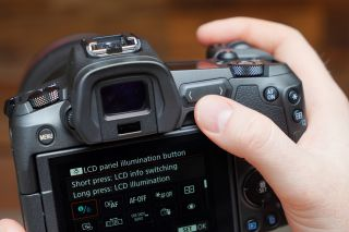 The M-Fn bar, shown here just above the thumb, only appears on the EOS R body. Credit: TechRadar