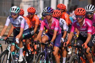 Mikayla Harvey, Katarzyna Niewiadoma and Marianne Vos in the best young rider, overall and points jerseys in the 2020 Giro Donne