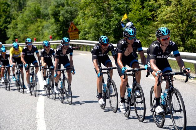 Vasil Kiryienka chases for Team Sky on stage four of the 2014 Criterium du Dauphine