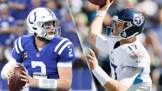 Carson Wentz #2 of the Indianapolis Colts and Ryan Tannehill #17 of the Tennessee Titans