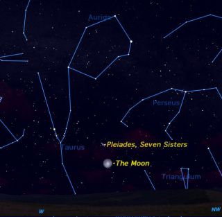 On Sunday (Nov. 21), the Pleiades star cluster will appear above the full moon at both sunrise and sunset. This sky map shows where to look before sunrise to see the event.