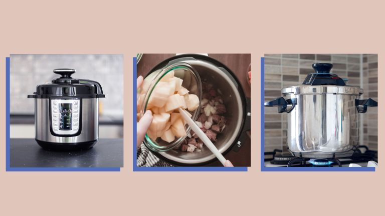 a collage image of three instant pots