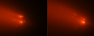 Images of Comet ATLAS taken on April 20 and April 23, 2020, show the comet breaking up into as many as 30 pieces.