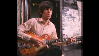 Keith Richards with his 1959 Gibson Les Paul Standard on the set of music programme 'Ready Steady Go!' in London