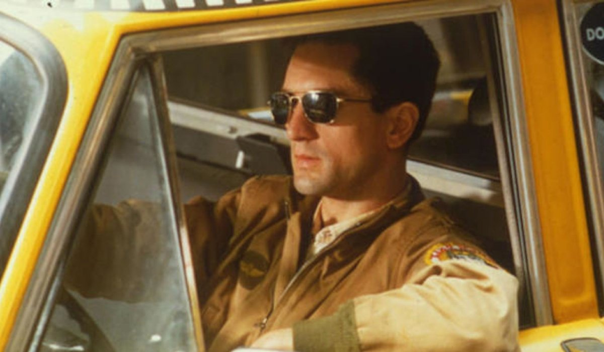 Taxi Driver Robert DeNiro behind the wheel of his cab