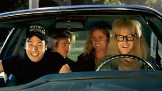 A picture of Wayne, Garth and pals in the Mirth Mobile