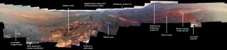 This annotated image is a cropped version of the last 360-degree panorama taken by the Opportunity rover's Pancam from May 13 through June 10, 2018. This annotated view is presented in false color to make some differences between materials easier to see.