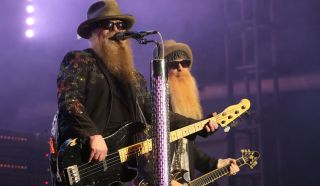 (left to right) Dusty Hill and Billy Gibbons of ZZ Top perform during Super Bowl Live at Root Memorial Square Park in Houston, Texas, on February 4, 2017