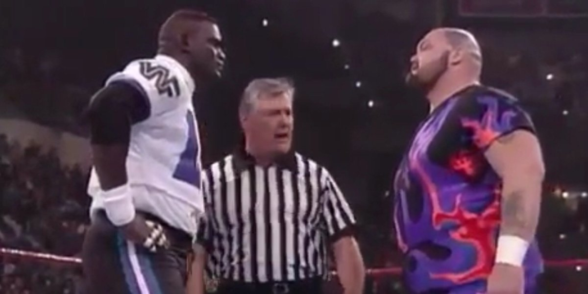 Lawrence Taylor and Bam Bam Bigelow at WrestleMania 11