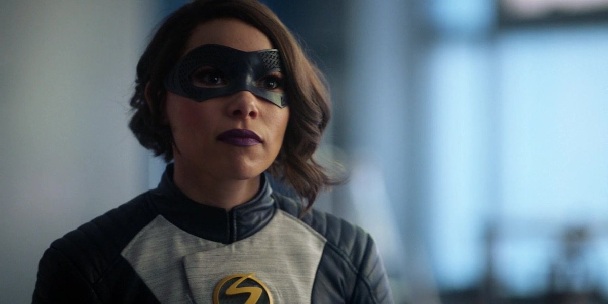 Jessica Parker Kennedy as Nora costumed as XS on The Flash