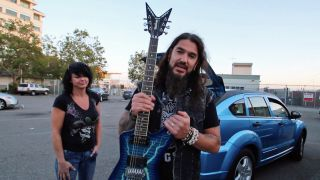 Robb Flynn with Holly Cherry and the Dimebag guitar