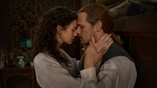 Claire and Jamie about to kiss Outlander Season 6
