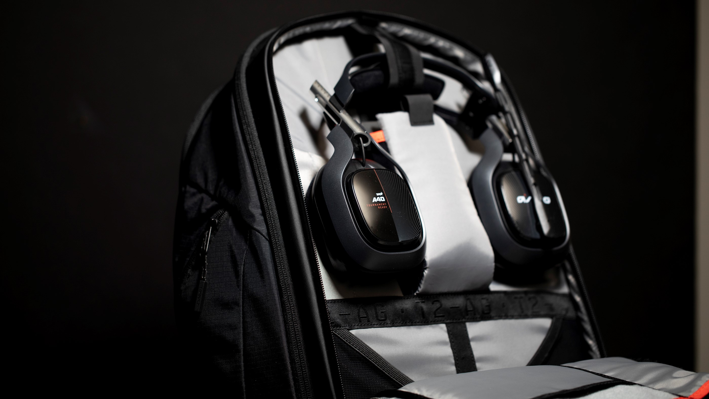 Opened BP35 Backpack showing off headset storage