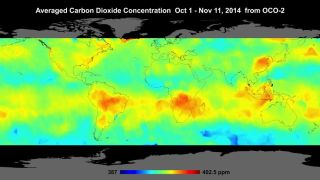 Averaged carbon dioxide concentration graph
