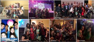 Collage of group photos of the educators who attended ISTE together.