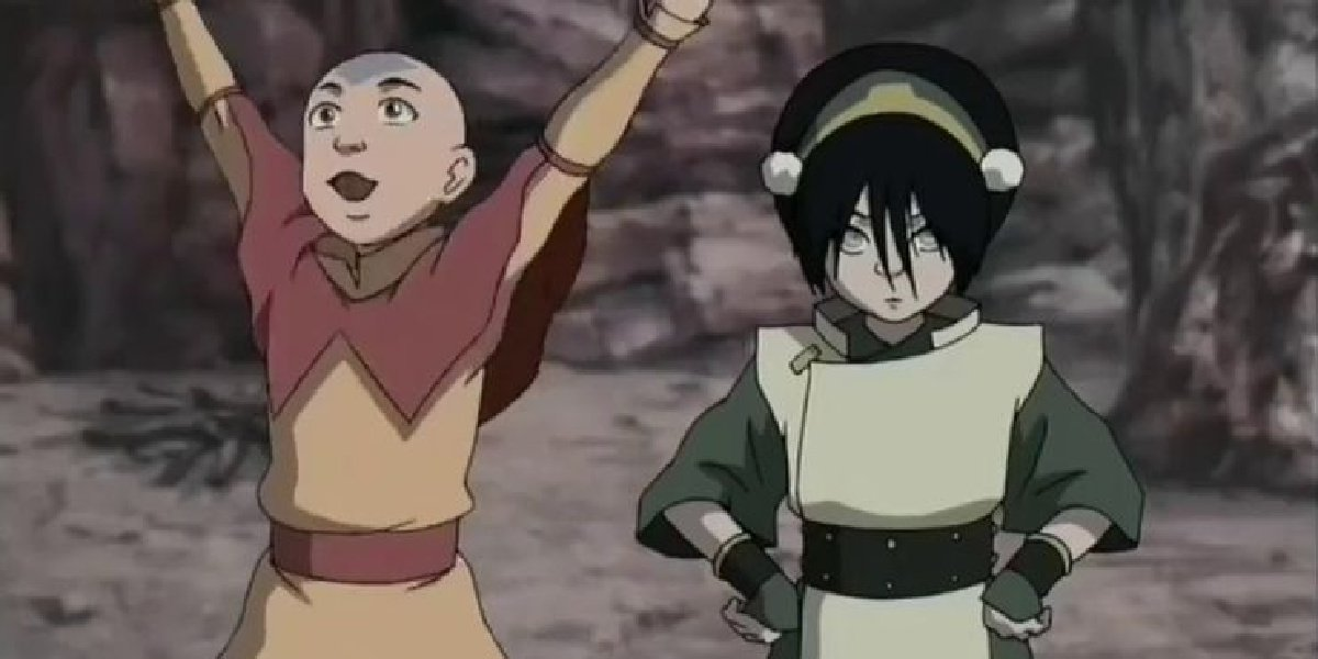 Toph and Aang in Avatar: The Last Airbender.