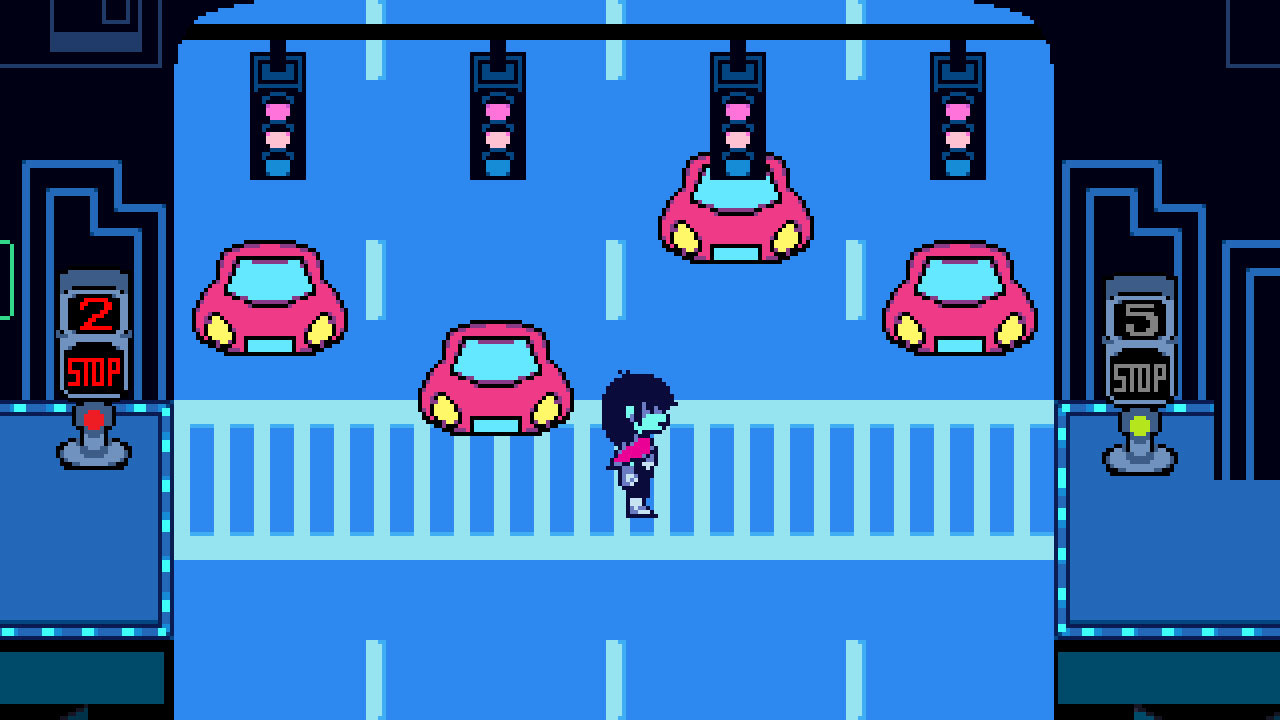 Deltarune Chapter 2's Kris crossing the road, narrowly avoiding red cars